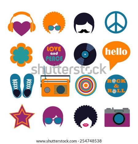 set of color hippie flat icons - stock vector