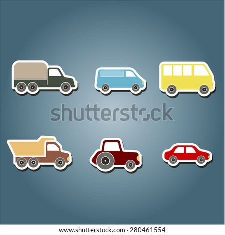 set of color icons with car icons for your design - stock vector