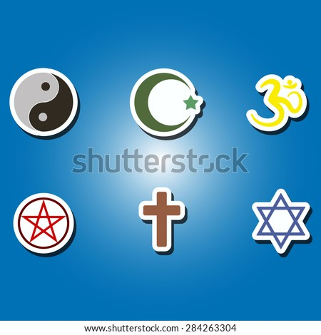 set of color icons with religious symbols for your design - stock vector