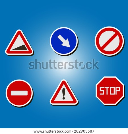 set of color icons with traffic signs for your design