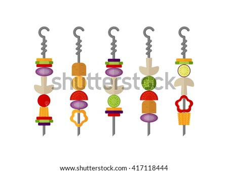 Set of color images  of vegetarian kebabs on the barbecue. Grill menu.Cartoon flat vector illustration. Objects isolated on a background.  - stock vector
