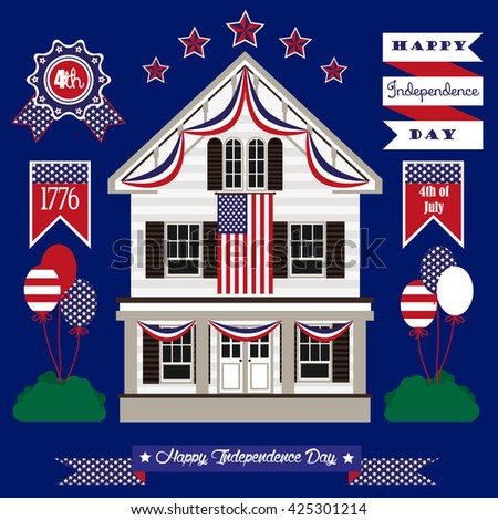 Set of color independence day.Fourth of July.White house. Vector icons.
