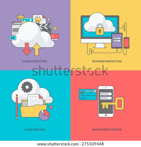 Set of color line icons on the theme of internet security - stock vector