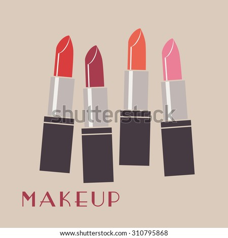 Set of color lipsticks. Red lipstick, pink lipstick, orange lipstick, wine lipstick. Flat multicolored lipsticks. Makeup. - stock vector