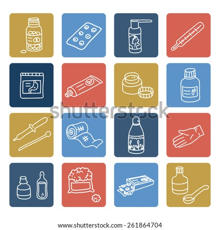 Set of color medicine linear icons - stock vector