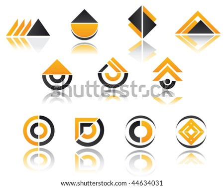 Set of color orange and black symbols isolated on white - as emblems or logo template - stock vector
