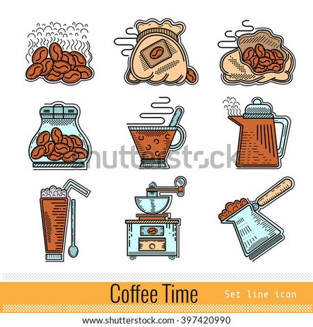 Set of Color Outline Web Icon. Coffee Time - stock vector