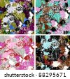 Set of color paints seamless patterns, vector backgrounds - stock photo