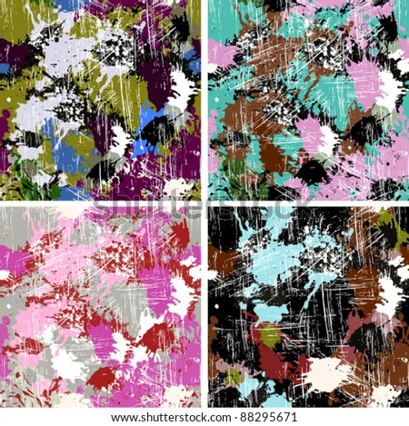 Set of color paints seamless patterns, vector backgrounds - stock vector