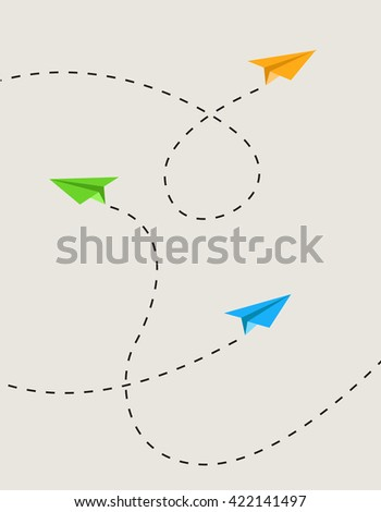 Set of color paper airplanes in route