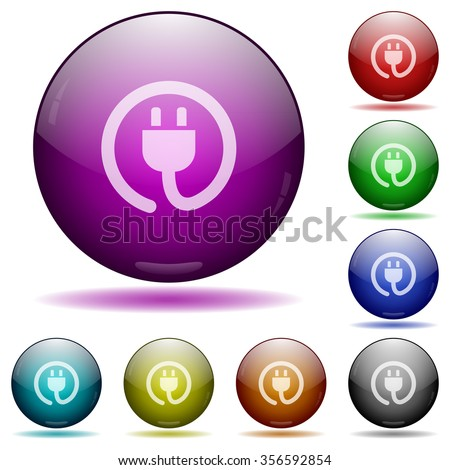 Set of color Power cord glass sphere buttons with shadows. - stock vector