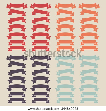 Set of color ribbons. Web banners. Vector illustration.