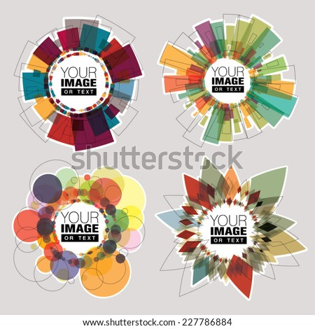 Set of color round frames. Geometric shapes. - stock vector
