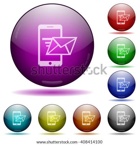 Set of color sending email glass sphere buttons with shadows. - stock vector