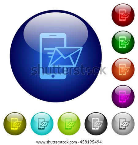 Set of color sending email glass web buttons. - stock vector
