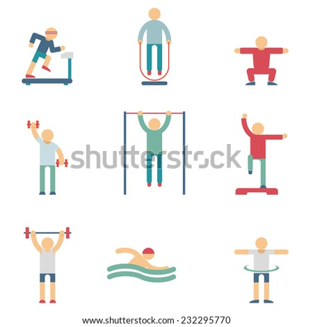 Set of color silhouettes of people performing fitness exercises on the white background. Vector, illustration. - stock vector