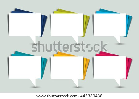 Set of color speech bubbles. Paper stickers. - stock vector