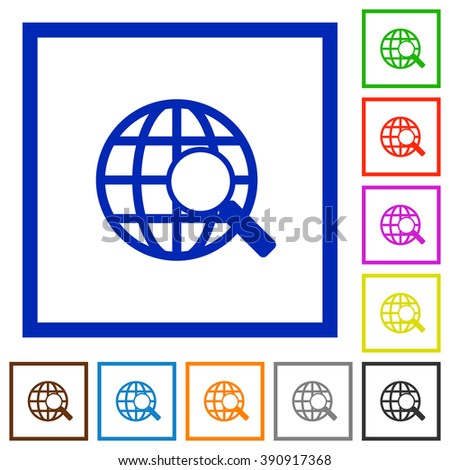 Set of color square framed Web search flat icons on white background - stock vector