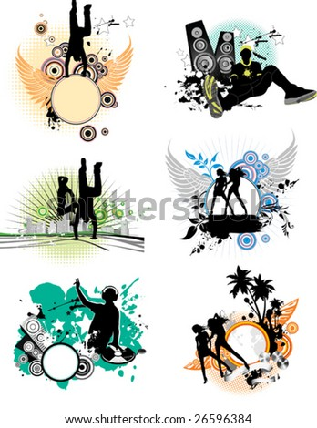 Set of color stain with silhouettes of the people. All elements and textures are individual objects. Vector illustration scale to any size. - stock vector