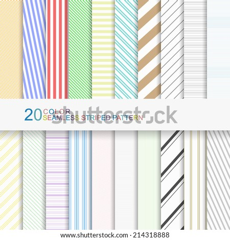 Set of color striped patterns, seamless vector backgrounds for your design - stock vector