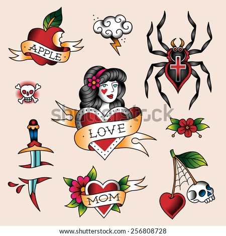 Set of  color tattoos in traditional vintage style - stock vector