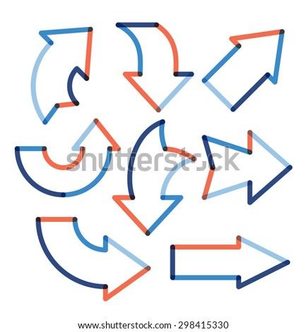 Set of color transparent arrows. Vector illustration - stock vector