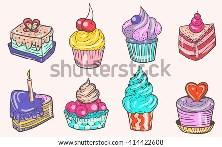 Set of color vector and delicious cakes.