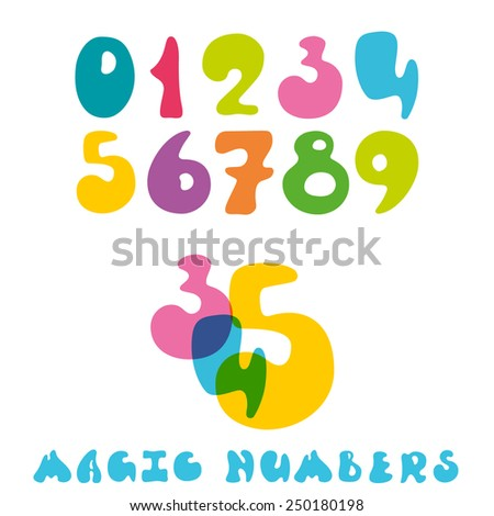 Set of color vector numbers.