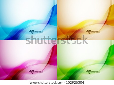 Set of color vector smooth wave backgrounds