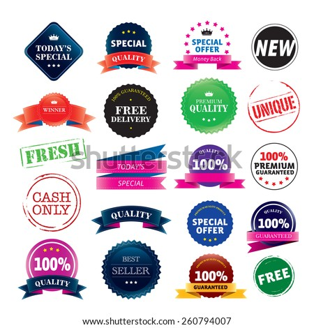 Set of color vector stickers and ribbons