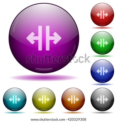 Set of color Vertical split glass sphere buttons with shadows.