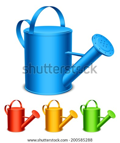 Set of 4 color watering cans. - stock vector