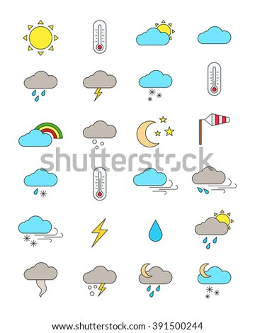 Set of 24 color weather forecast icons