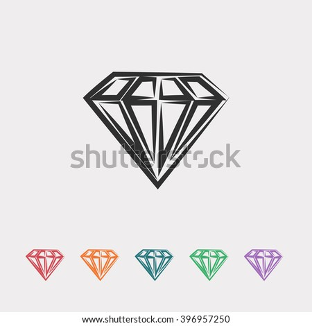 Set of color web icons: black Diamond icon, red Diamond icon, orange Diamond icon, blue Diamond icon, green Diamond icon, purple Diamond icon - stock vector