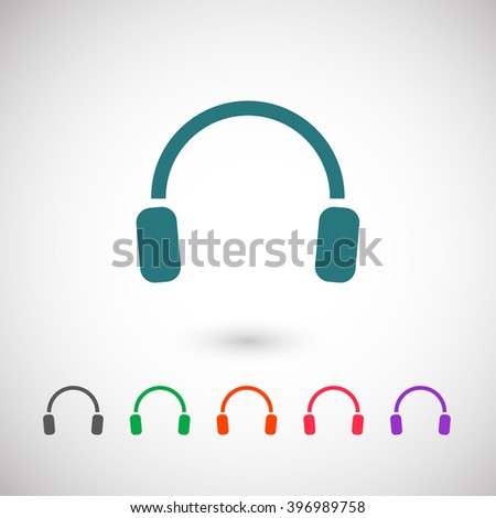 Set of color web icons: blue headphones icon, black headphones icon, green headphones icon, orange headphones icon, red headphones icon, purple headphones icon - stock vector