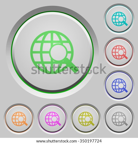Set of color web search sunk push buttons. - stock vector