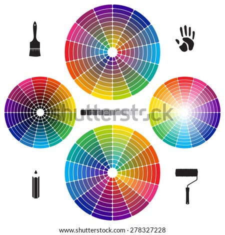 Set of Color Wheels with separate flat colors - stock vector