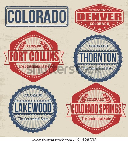 Set of Colorado cities stamps on vintage background, vector illustration