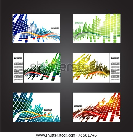 set of colored abstract backgrounds with squares - stock vector