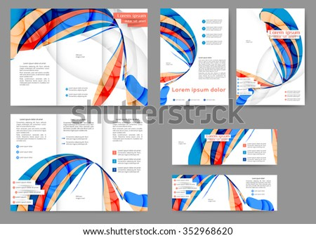 Set of colored abstract brochure template with abstract lines and waves for your business - stock vector
