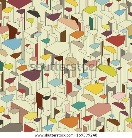 Set of colored abstract houses. Architectural vector background. - stock vector