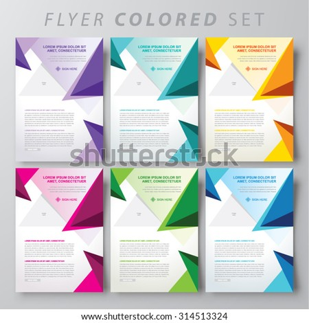 Set of colored abstract triangles brochure design templates. - stock vector