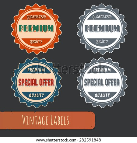 Set of colored and black-and-white vintage style labels for sales, trade and business.