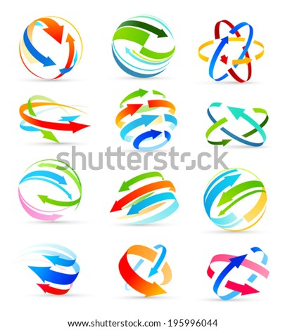Set of colored arrows icons. Vector - stock vector