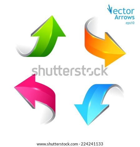 Set of colored arrows. Stickers pointers. Vector illustration
