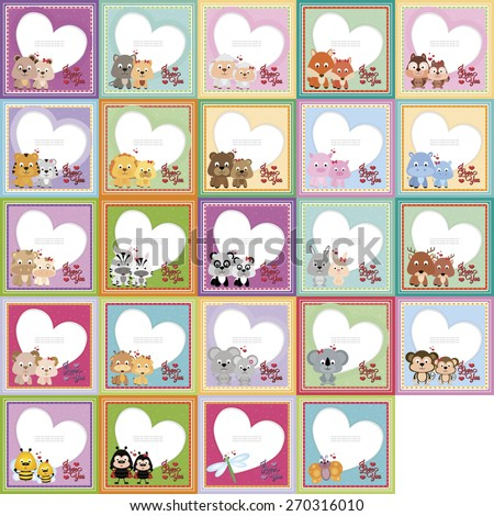 Set of colored backgrounds with animals. Vector illustration - stock vector