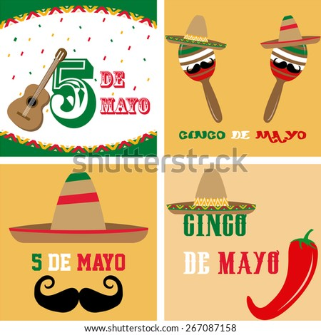 Set of colored backgrounds with traditional elements for may 5th. Vector illustration