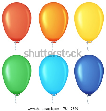 Set of colored balloons, EPS10 - vector graphics.
