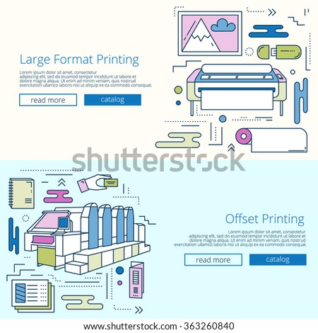 Set Banners Printing House Print Shop Stock Vector 363260843 ...