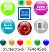 set of colored book web button. vector illustration - stock photo